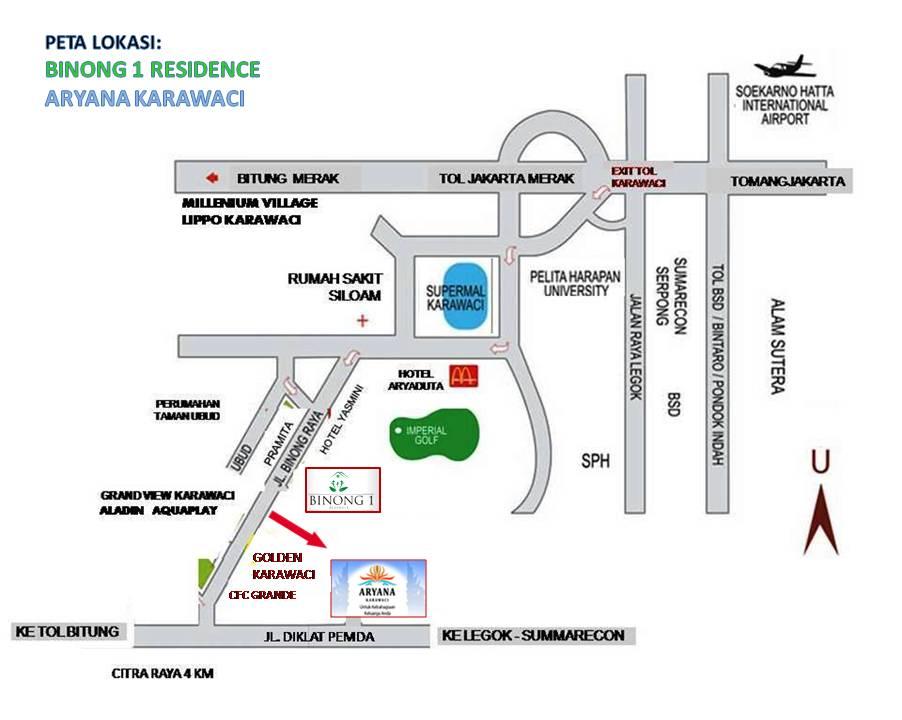 peta lokasi BINONG 1 RESIDENCE dan ARYANA KARAWACI